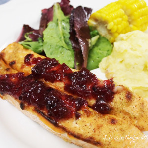 Baked Atlantic Salmon Fillets with Lingonberry Sauce